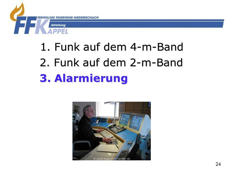 24 2. Funk auf dem 2-m-Band 3. Alarmierung 1. Funk auf dem 4-m-Band