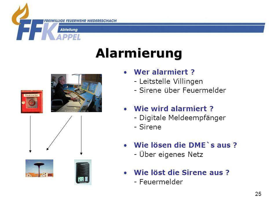 25 Wer alarmiert ? - Leitstelle Villingen - Sirene über Feuermelder Wie wird alarmiert ? - Digitale Meldeempfänger - Sirene Wie lösen die DME`s aus ?