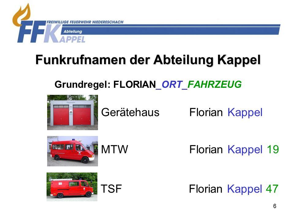 7 Funkrufnamen der Gesamtwehr Niedereschach FeuerwehrhausFlorian Niedereschach MTW / (evtl.