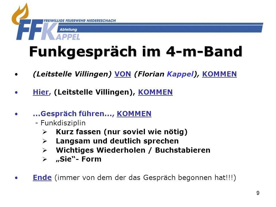 20 Notfallgespräch im 2-m-Band: Beispiel: MAYDAY, MAYDAY, MAYDAY HIER Kappel 47 Atemschutztrupp 1.
