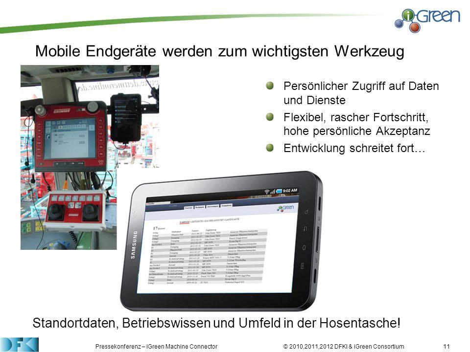 Pressekonferenz – iGreen Machine Connector © 2010,2011,2012 DFKI & iGreen Consortium11 Mobile Endgeräte werden zum wichtigsten Werkzeug Persönlicher Z