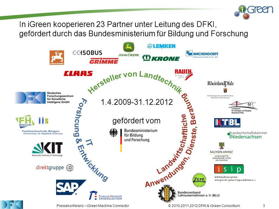 Pressekonferenz – iGreen Machine Connector © 2010,2011,2012 DFKI & iGreen Consortium In iGreen kooperieren 23 Partner unter Leitung des DFKI, geförder