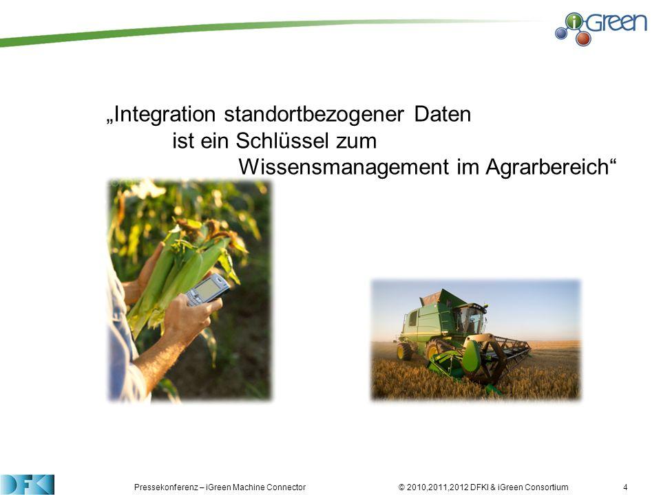 Pressekonferenz – iGreen Machine Connector © 2010,2011,2012 DFKI & iGreen Consortium4 Integration standortbezogener Daten ist ein Schlüssel zum Wissen