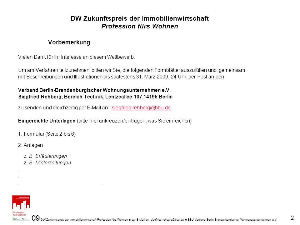 09 DW Zukunftspreis der Immobilienwirtschaft Profession fürs Wohnen BBU Verband Berlin-Brandenburgischer Wohnungsunternehmen e.V.