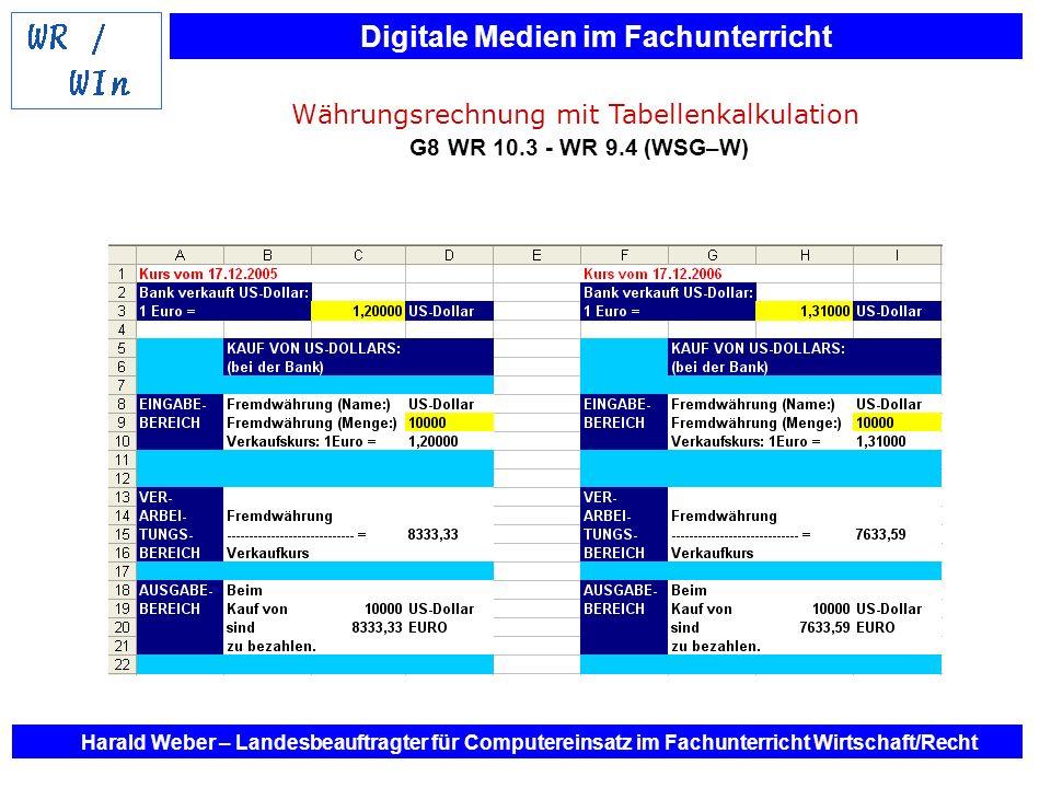 Digitale Medien im Fachunterricht Harald Weber – Landesbeauftragter für Computereinsatz im Fachunterricht Wirtschaft/Recht Währungsrechnung mit Tabell