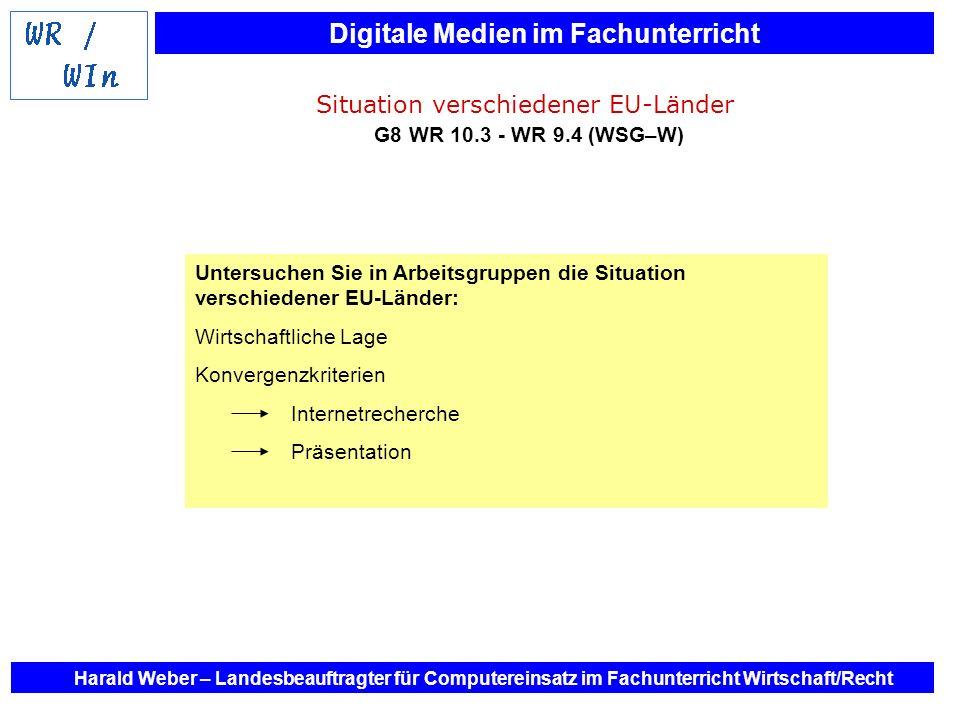 Digitale Medien im Fachunterricht Harald Weber – Landesbeauftragter für Computereinsatz im Fachunterricht Wirtschaft/Recht Situation verschiedener EU-