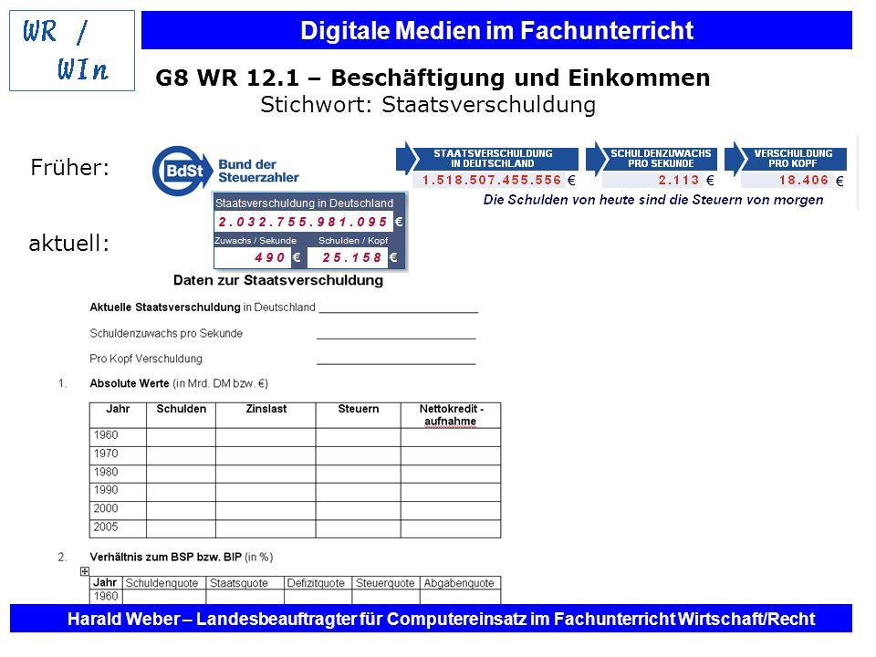 Digitale Medien im Fachunterricht Harald Weber – Landesbeauftragter für Computereinsatz im Fachunterricht Wirtschaft/Recht G8 WR 12.1 – Beschäftigung