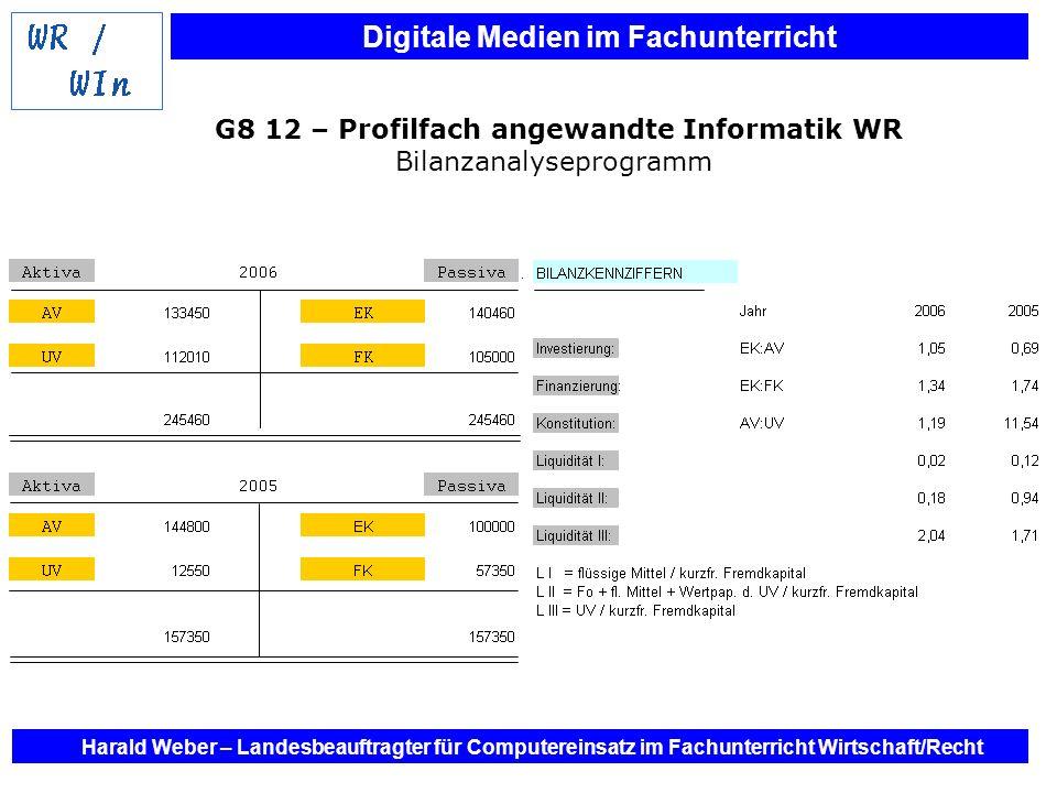 Digitale Medien im Fachunterricht Harald Weber – Landesbeauftragter für Computereinsatz im Fachunterricht Wirtschaft/Recht G8 12 – Profilfach angewand