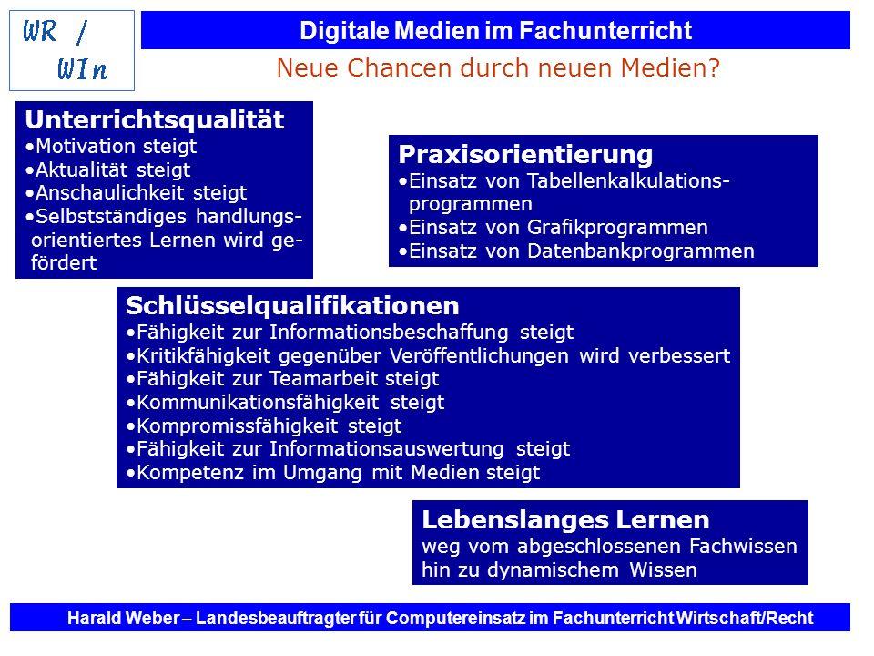 Digitale Medien im Fachunterricht Harald Weber – Landesbeauftragter für Computereinsatz im Fachunterricht Wirtschaft/Recht Neue Chancen durch neuen Me