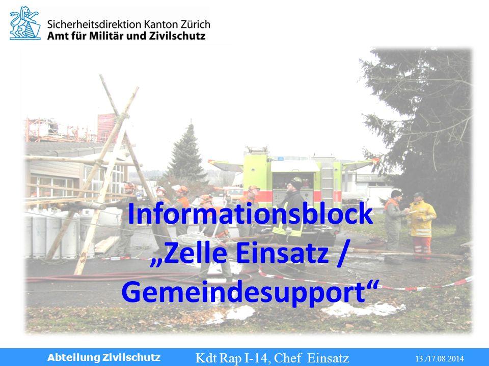 Info Gemeindesupport Kdt Rap I-14, Chef Einsatz 13./17.08.2014 Abteilung Zivilschutz Informationsblock Zelle Einsatz / Gemeindesupport