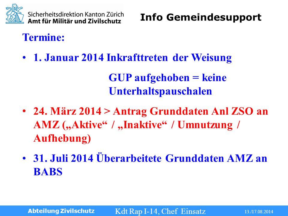 Info Gemeindesupport Kdt Rap I-14, Chef Einsatz 13./17.08.2014 Abteilung Zivilschutz Termine: 1.