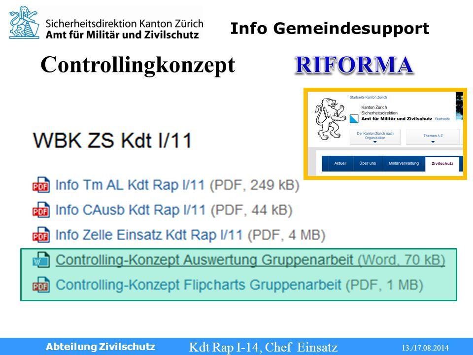 Info Gemeindesupport Kdt Rap I-14, Chef Einsatz 13./17.08.2014 Abteilung Zivilschutz Controllingkonzept