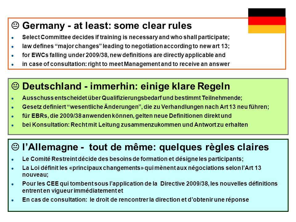 ah-mv © igm-etui (01/2012) EWC Directive 2009/38/EC UNI Europa, EWC Coord, Vienna 5ah-mv © igm-etui (2011) EWC Directive 2009/38/EC GPA-djp, Vienna 5 Deutschland - immerhin: einige klare Regeln Ausschuss entscheidet über Qualifizierungsbedarf und bestimmt Teilnehmende; Gesetz definiert wesentliche Änderungen, die zu Verhandlungen nach Art 13 neu führen; für EBRs, die 2009/38 anwenden können, gelten neue Definitionen direkt und bei Konsultation: Recht mit Leitung zusammenzukommen und Antwort zu erhalten lAllemagne - tout de même: quelques règles claires Le Comité Restreint décide des besoins de formation et désigne les participants; La Loi définit les «principaux changements» qui mènent aux négociations selon lArt 13 nouveau; Pour les CEE qui tombent sous lapplication de la Directive 2009/38, les nouvelles définitions entrent en vigueur immédiatement et En cas de consultation: le droit de rencontrer la direction et dobtenir une réponse Germany - at least: some clear rules Select Committee decides if training is necessary and who shall participate; law defines major changes leading to negotiation according to new art 13; for EWCs falling under 2009/38, new definitions are directly applicable and in case of consultation: right to meet Management and to receive an answer