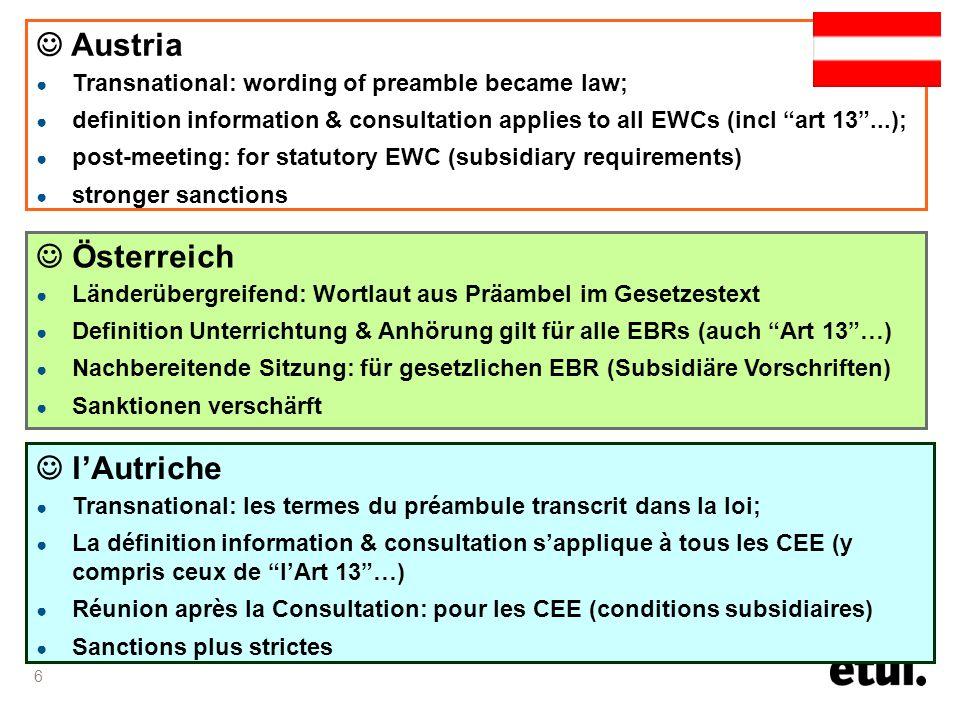 6 Österreich Länderübergreifend: Wortlaut aus Präambel im Gesetzestext Definition Unterrichtung & Anhörung gilt für alle EBRs (auch Art 13…) Nachbereitende Sitzung: für gesetzlichen EBR (Subsidiäre Vorschriften) Sanktionen verschärft Austria Transnational: wording of preamble became law; definition information & consultation applies to all EWCs (incl art 13...); post-meeting: for statutory EWC (subsidiary requirements) stronger sanctions lAutriche Transnational: les termes du préambule transcrit dans la loi; La définition information & consultation sapplique à tous les CEE (y compris ceux de lArt 13…) Réunion après la Consultation: pour les CEE (conditions subsidiaires) Sanctions plus strictes
