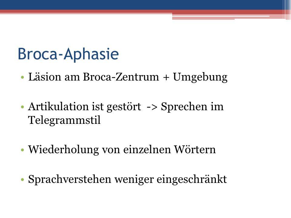 Broca-Aphasie Läsion am Broca-Zentrum + Umgebung Artikulation ist gestört -> Sprechen im Telegrammstil Wiederholung von einzelnen Wörtern Sprachverste