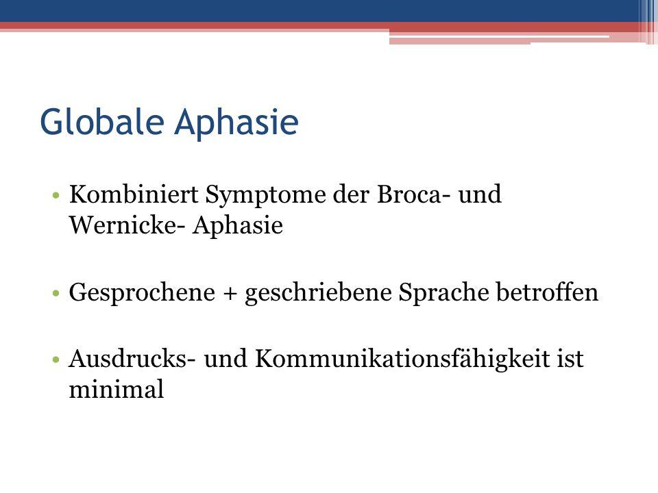 Globale Aphasie Kombiniert Symptome der Broca- und Wernicke- Aphasie Gesprochene + geschriebene Sprache betroffen Ausdrucks- und Kommunikationsfähigke