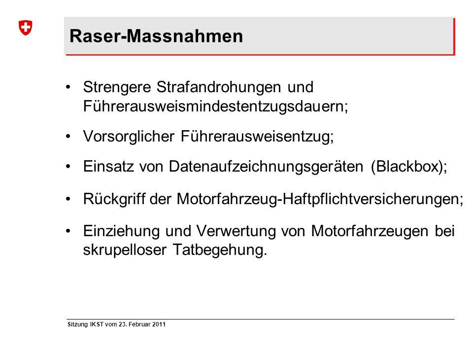 Sitzung IKST vom 23. Februar 2011 Raser-Massnahmen Strengere Strafandrohungen und Führerausweismindestentzugsdauern; Vorsorglicher Führerausweisentzug