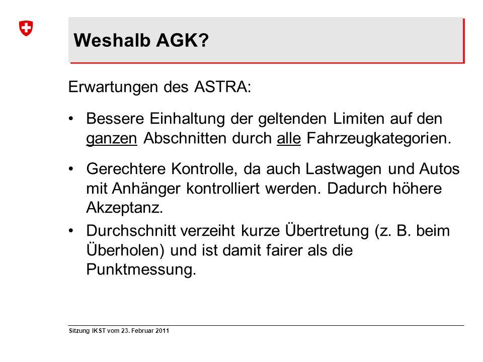 Sitzung IKST vom 23. Februar 2011 Weshalb AGK? Erwartungen des ASTRA: Bessere Einhaltung der geltenden Limiten auf den ganzen Abschnitten durch alle F