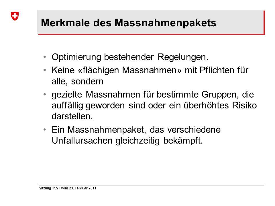 Sitzung IKST vom 23. Februar 2011 Merkmale des Massnahmenpakets Optimierung bestehender Regelungen. Keine «flächigen Massnahmen» mit Pflichten für all