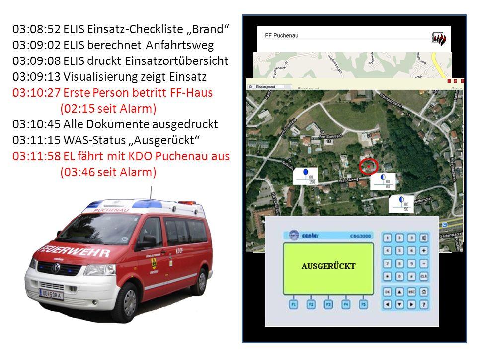 03:08:52 ELIS Einsatz-Checkliste Brand 03:09:02 ELIS berechnet Anfahrtsweg 03:09:08 ELIS druckt Einsatzortübersicht 03:09:13 Visualisierung zeigt Eins