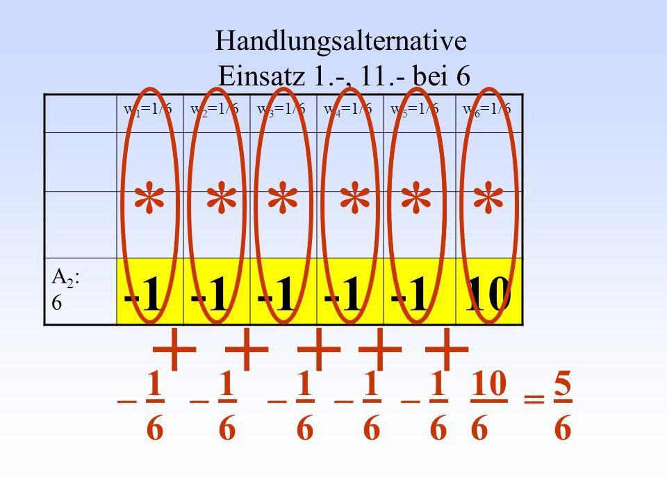 w 1 =1/6w 2 =1/6w 3 =1/6w 4 =1/6w 5 =1/6w 6 =1/6 A2:6A2:6 10 Handlungsalternative Einsatz 1.-, 11.- bei 6 * + ***** ++++ _ 1 6 10 6 5 6 =