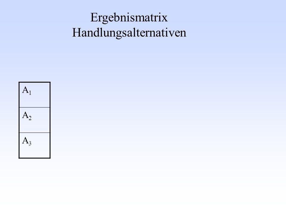 Ergebnismatrix Handlungsalternativen A1A1 A2A2 A3A3
