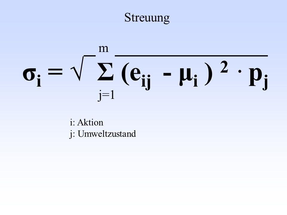 m σ i = Σ (e ij - μ i ) 2. p j j=1 Streuung i: Aktion j: Umweltzustand