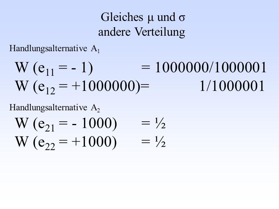 Gleiches μ und σ andere Verteilung W (e 11 = - 1) = 1000000/1000001 W (e 12 = +1000000)= 1/1000001 W (e 21 = - 1000) = ½ W (e 22 = +1000) = ½ Handlung