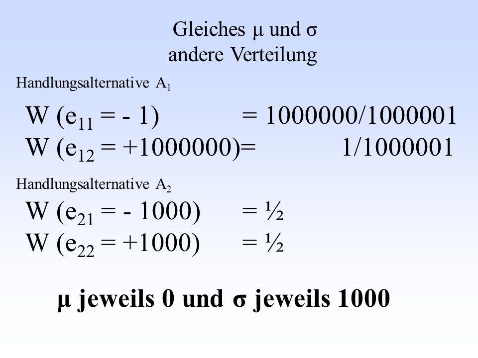 Gleiches μ und σ andere Verteilung W (e 11 = - 1) = 1000000/1000001 W (e 12 = +1000000)= 1/1000001 W (e 21 = - 1000) = ½ W (e 22 = +1000) = ½ μ jeweil