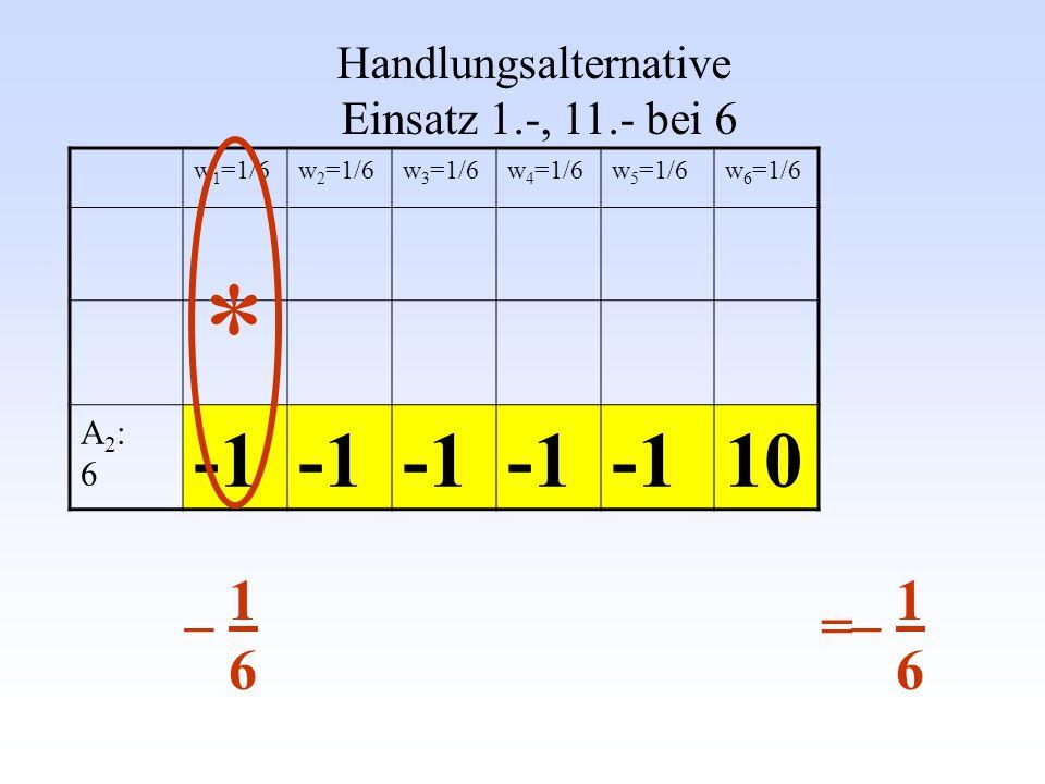 Gleiches μ und σ andere Verteilung W (e 11 = - 1) = 1000000/1000001 W (e 12 = +1000000)= 1/1000001 W (e 21 = - 1000) = ½ W (e 22 = +1000) = ½ μ jeweils 0 und σ jeweils 1000 Handlungsalternative A 1 Handlungsalternative A 2