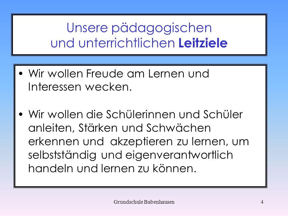 Grundschule Babenhausen15 Medienkonzept - Ziele Wir nutzen die eingeführten PC - Programme regelmäßig.
