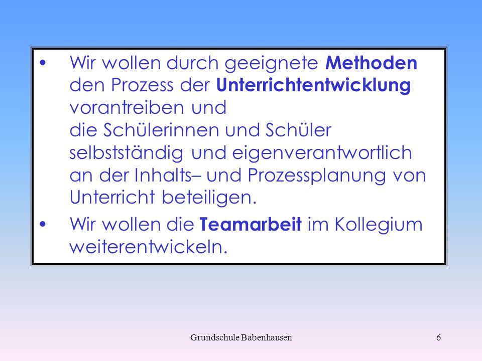 Grundschule Babenhausen7 Bausteine des Schulprogramms Förderkonzepte Medienpäda- gogische Ziele Jahrgangs- übergreifende Arbeit Unterrichts- entwicklung Qualitäts- sicherung Medienkonzept
