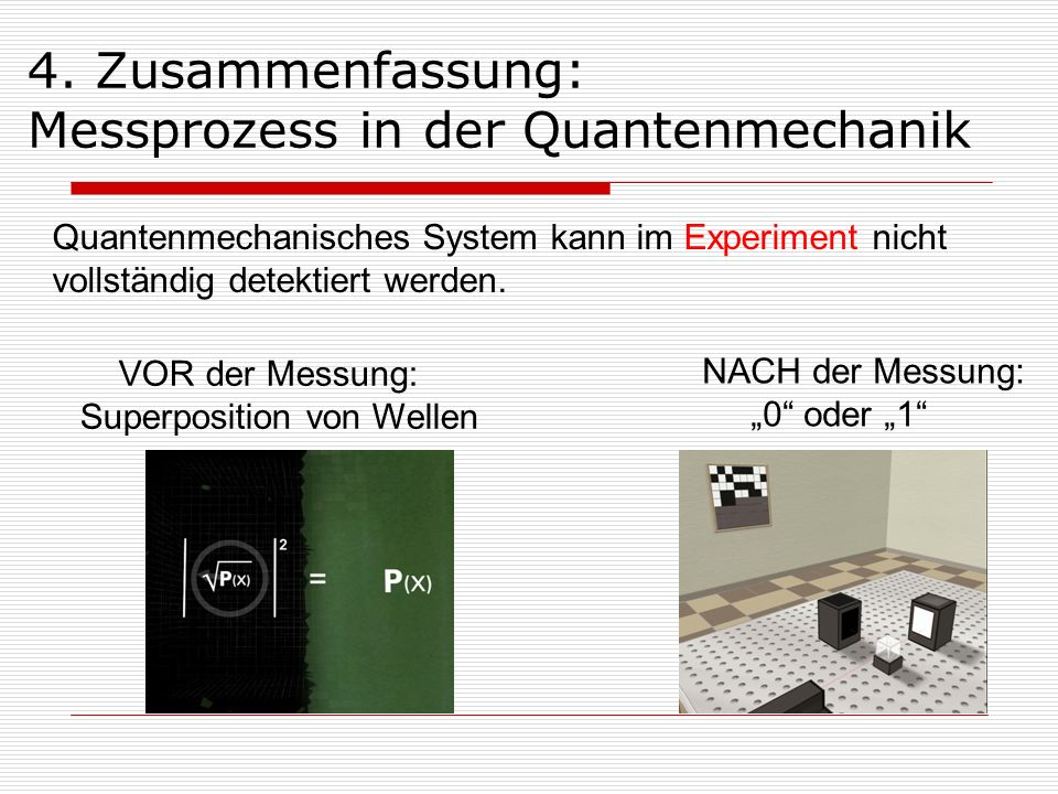 Quantenmechanisches System kann im Experiment nicht vollständig detektiert werden. 4. Zusammenfassung: Messprozess in der Quantenmechanik VOR der Mess