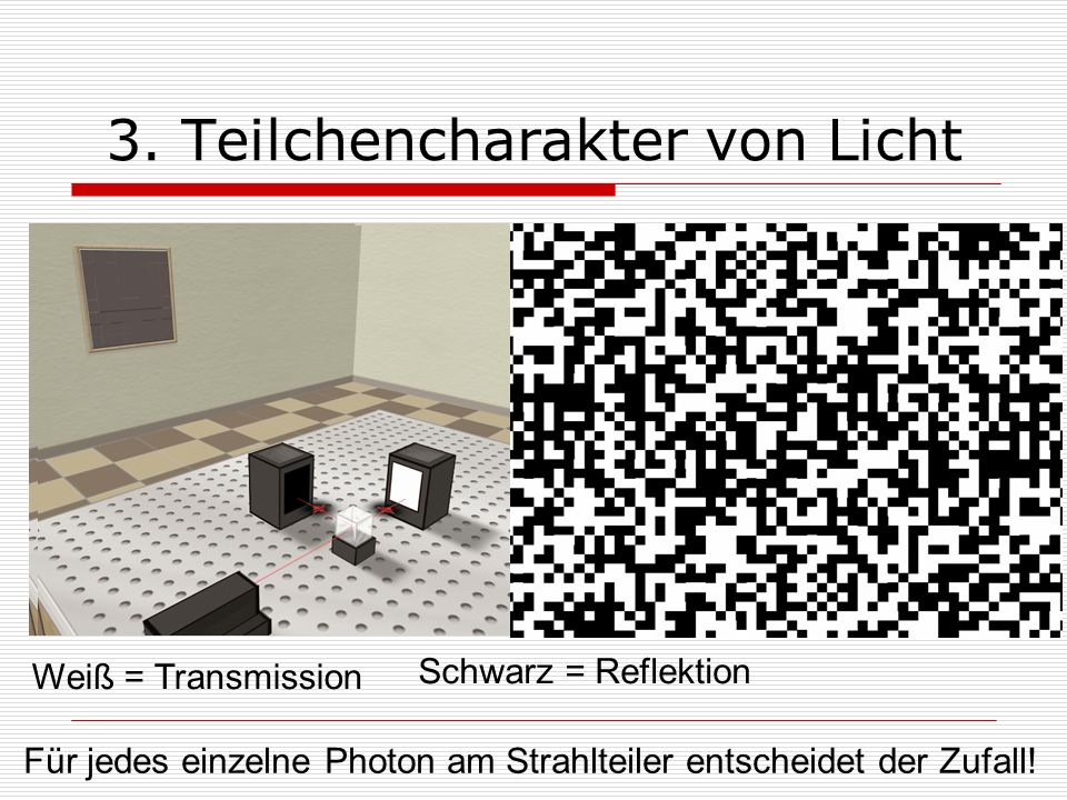 Weiß = Transmission Schwarz = Reflektion 3. Teilchencharakter von Licht Für jedes einzelne Photon am Strahlteiler entscheidet der Zufall!