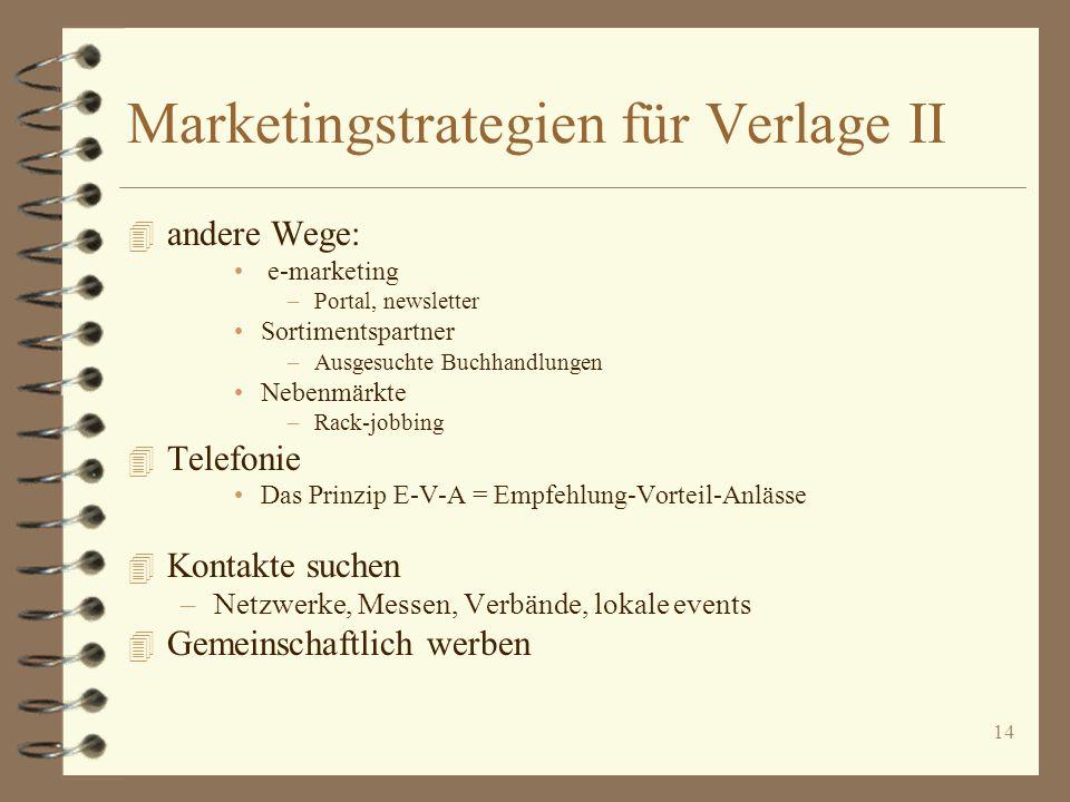 14 Marketingstrategien für Verlage II 4 andere Wege: e-marketing –Portal, newsletter Sortimentspartner –Ausgesuchte Buchhandlungen Nebenmärkte –Rack-j