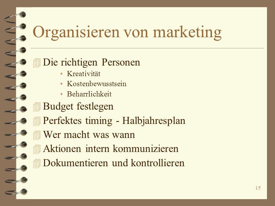 15 Organisieren von marketing 4 Die richtigen Personen Kreativität Kostenbewusstsein Beharrlichkeit 4 Budget festlegen 4 Perfektes timing - Halbjahres