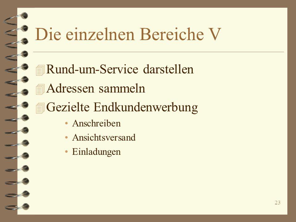 23 Die einzelnen Bereiche V 4 Rund-um-Service darstellen 4 Adressen sammeln 4 Gezielte Endkundenwerbung Anschreiben Ansichtsversand Einladungen