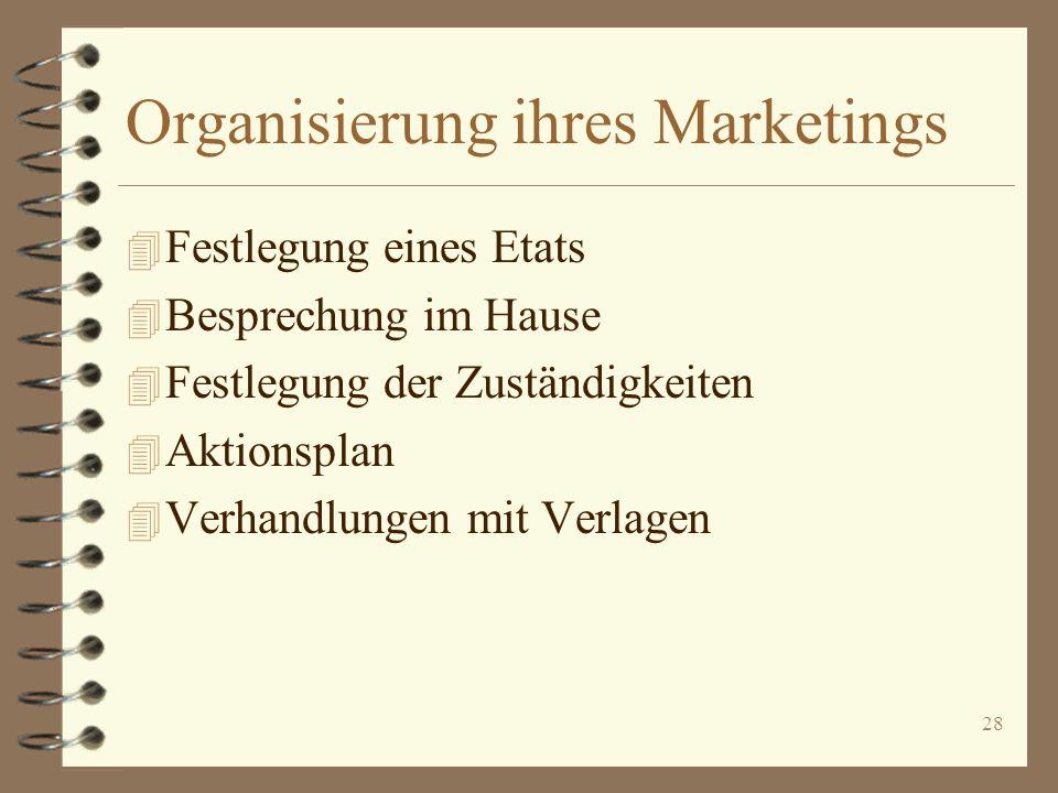 28 Organisierung ihres Marketings 4 Festlegung eines Etats 4 Besprechung im Hause 4 Festlegung der Zuständigkeiten 4 Aktionsplan 4 Verhandlungen mit V