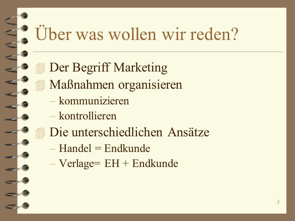 3 Über was wollen wir reden? 4 Der Begriff Marketing 4 Maßnahmen organisieren –kommunizieren –kontrollieren 4 Die unterschiedlichen Ansätze –Handel =