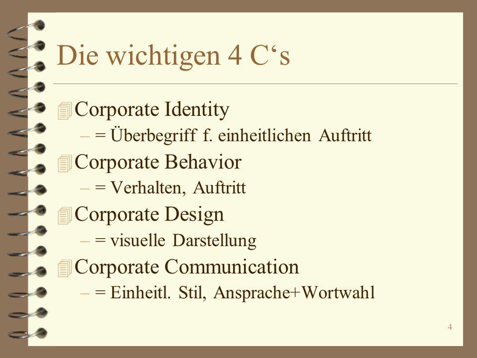 4 Die wichtigen 4 Cs 4 Corporate Identity –= Überbegriff f. einheitlichen Auftritt 4 Corporate Behavior –= Verhalten, Auftritt 4 Corporate Design –= v