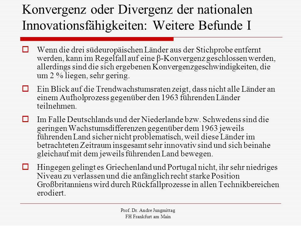 Prof. Dr. Andre Jungmittag FH Frankfurt am Main Konvergenz oder Divergenz der nationalen Innovationsfähigkeiten: Weitere Befunde I Wenn die drei südeu