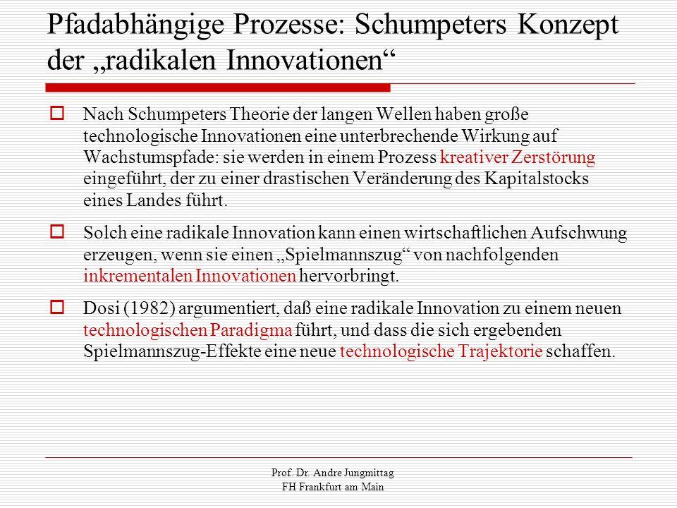 Prof. Dr. Andre Jungmittag FH Frankfurt am Main Pfadabhängige Prozesse: Schumpeters Konzept der radikalen Innovationen Nach Schumpeters Theorie der la