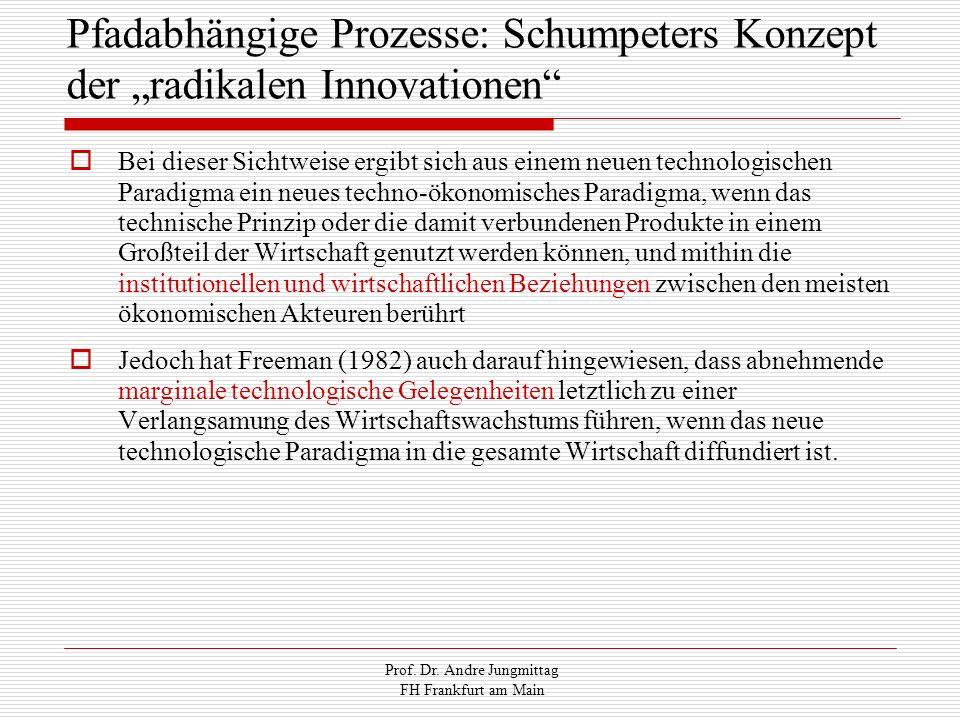 Prof. Dr. Andre Jungmittag FH Frankfurt am Main Pfadabhängige Prozesse: Schumpeters Konzept der radikalen Innovationen Bei dieser Sichtweise ergibt si