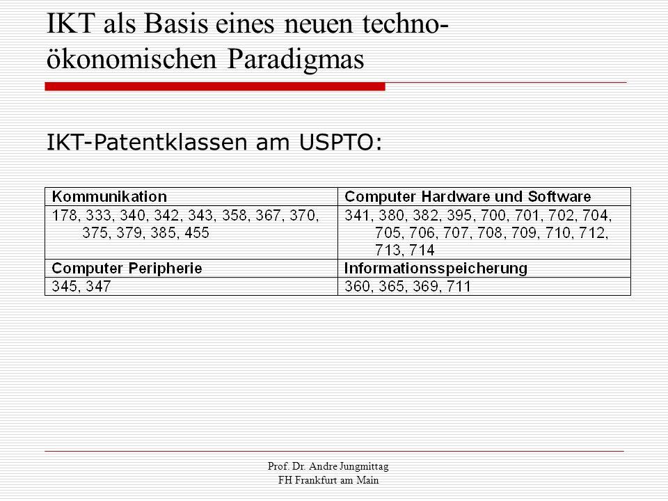 Prof. Dr. Andre Jungmittag FH Frankfurt am Main IKT als Basis eines neuen techno- ökonomischen Paradigmas IKT-Patentklassen am USPTO: