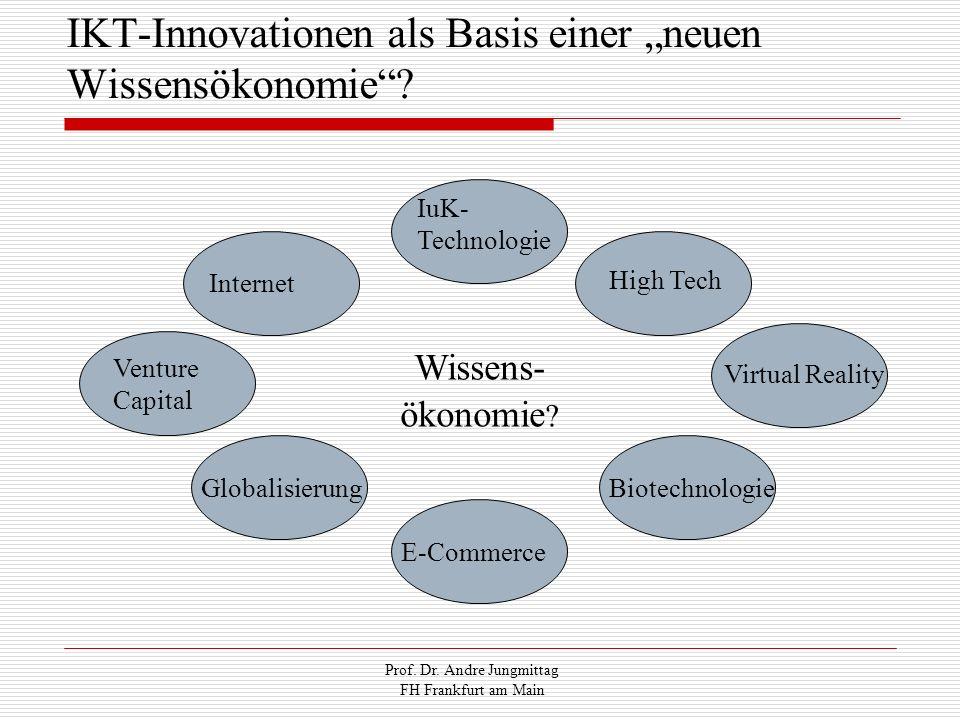 Prof. Dr. Andre Jungmittag FH Frankfurt am Main IuK- Technologie Internet Venture Capital Globalisierung E-Commerce Biotechnologie High Tech Wissens-