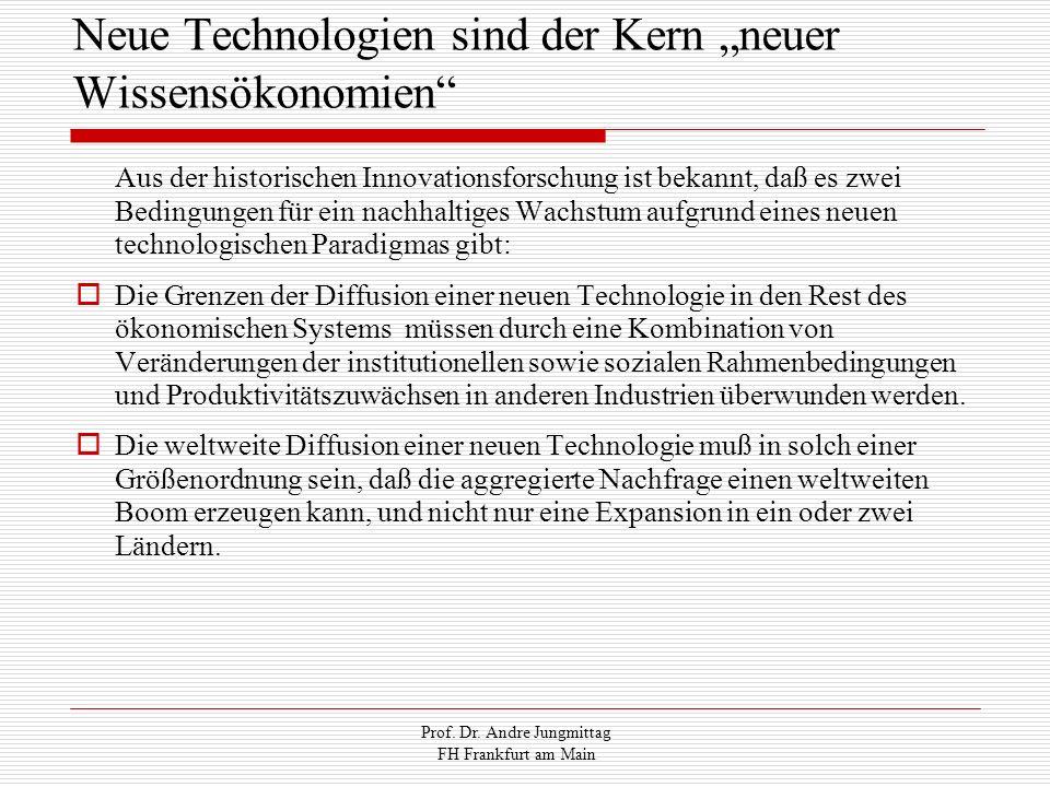 Prof. Dr. Andre Jungmittag FH Frankfurt am Main Neue Technologien sind der Kern neuer Wissensökonomien Aus der historischen Innovationsforschung ist b