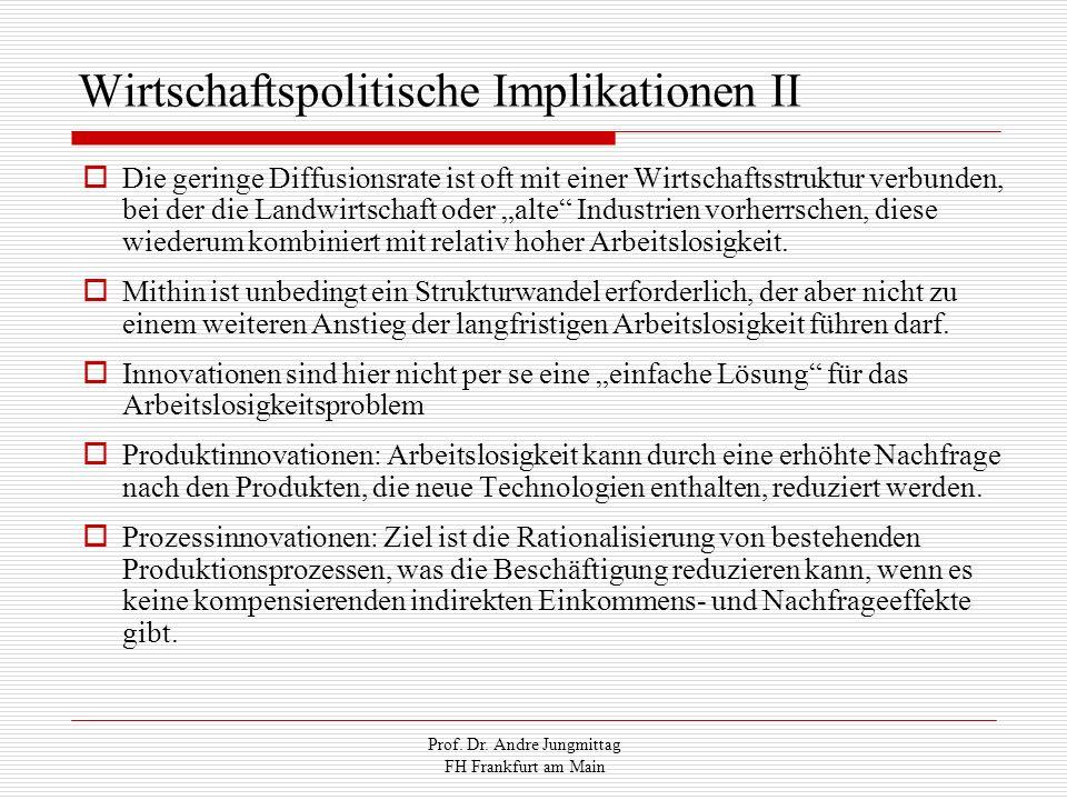 Prof. Dr. Andre Jungmittag FH Frankfurt am Main Wirtschaftspolitische Implikationen II Die geringe Diffusionsrate ist oft mit einer Wirtschaftsstruktu