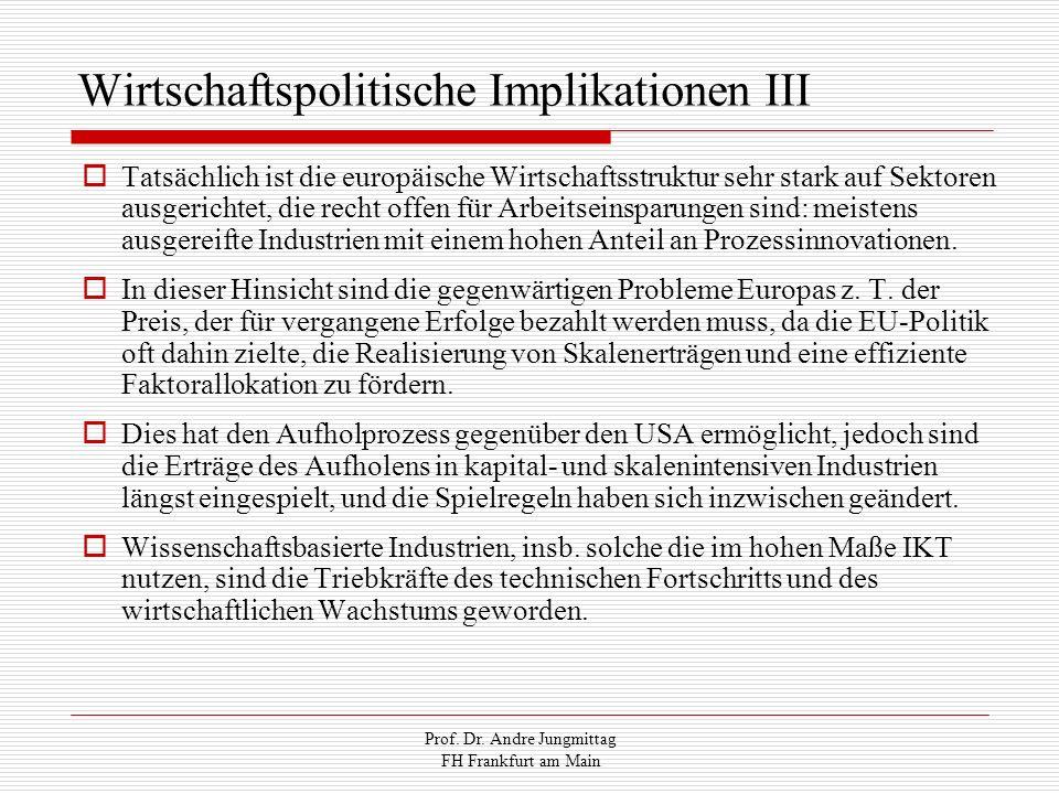 Prof. Dr. Andre Jungmittag FH Frankfurt am Main Wirtschaftspolitische Implikationen III Tatsächlich ist die europäische Wirtschaftsstruktur sehr stark