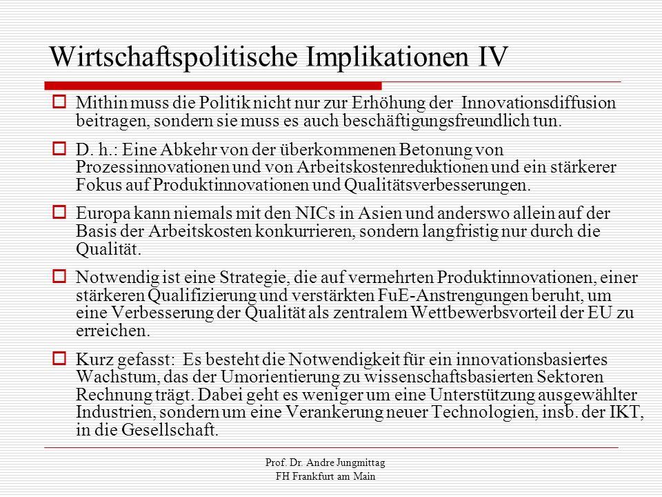 Prof. Dr. Andre Jungmittag FH Frankfurt am Main Wirtschaftspolitische Implikationen IV Mithin muss die Politik nicht nur zur Erhöhung der Innovationsd
