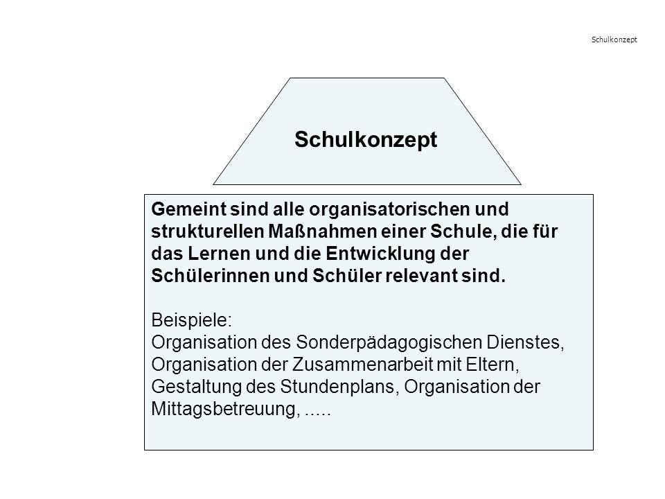 Gemeint sind alle organisatorischen und strukturellen Maßnahmen einer Schule, die für das Lernen und die Entwicklung der Schülerinnen und Schüler rele